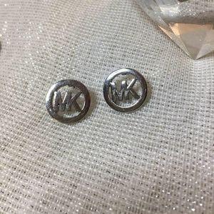 Mk silver logo stud earrings